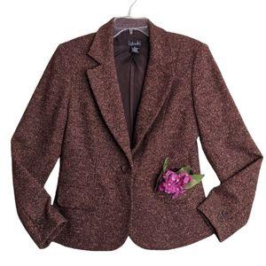 Rafaella Tweed Wool Blend Blazer Brown Jacket